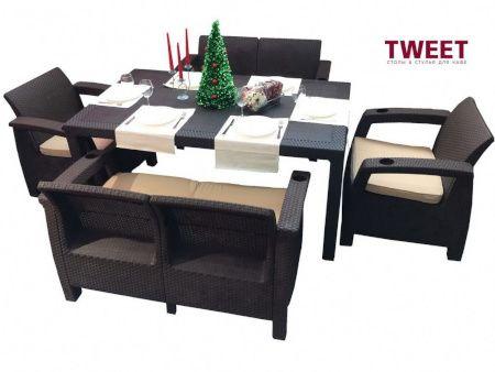 Пластиковая уличная мебель TWEET ротанг, производство Россия