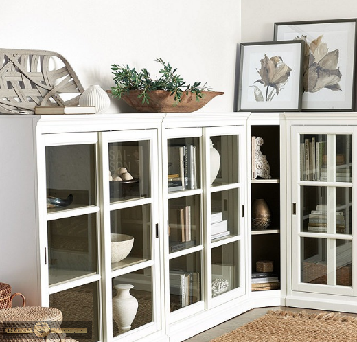 Шкаф для библиотеки Хуго-Dream H015D с декоративным плинтусом
