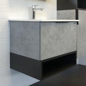 Тумба-умывальник Comforty  Франкфурт-60 бетон светлый с раковиной COMFORTY 60E