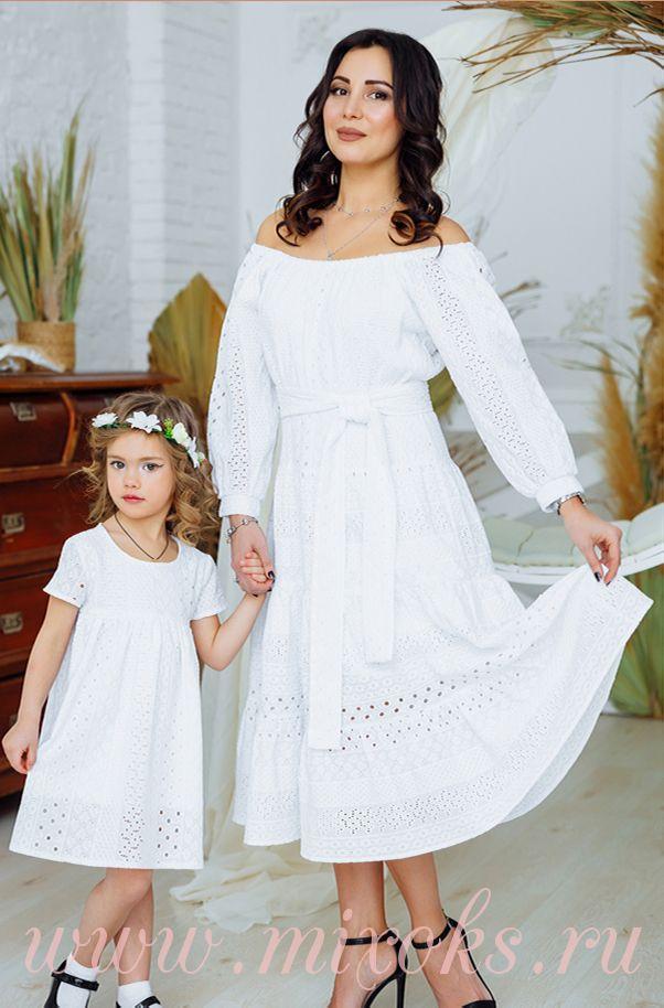 Платья летние белые для мамы и дочки