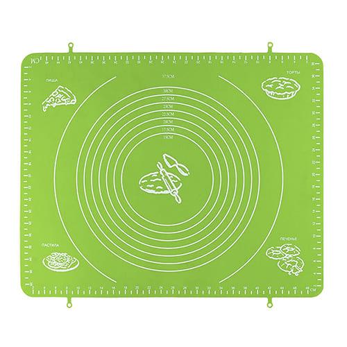 Силиконовый коврик для раскатывания теста, 65х45 см, цвет-зелёный.