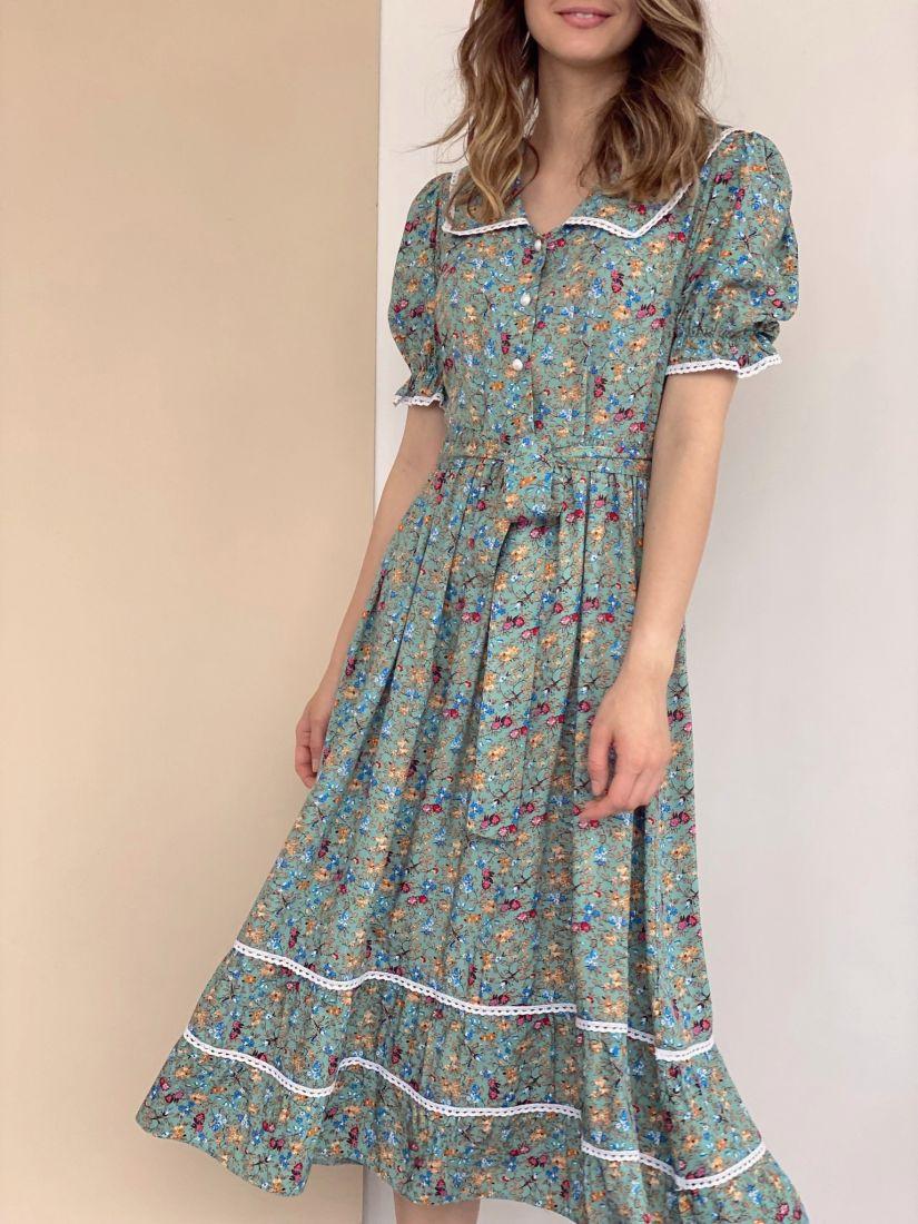 4321 Платье в ретро-стиле фисташковое с цветочками