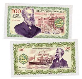 100 Cent FRANCS (франков) — Жуль Верн. Франция (Jules Verne. France). Памятная банкнота. UNC