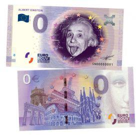 0 ЕВРО - Альберт Эйнштейн (Albert Einstein). Памятная банкнота