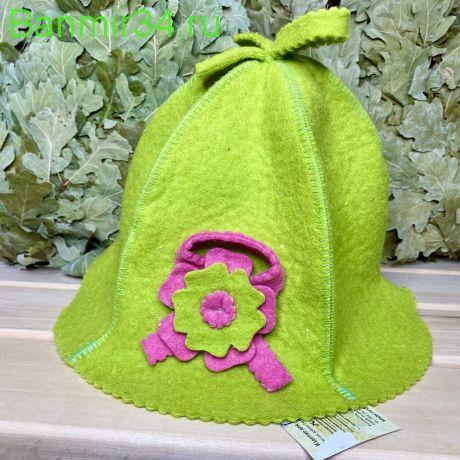 """Женская шапка """"Кокетка"""" зеленая"""