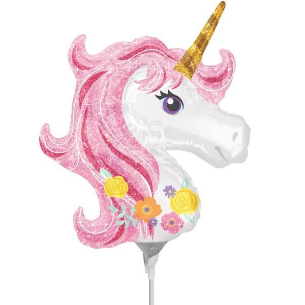 Единорог розовый на палочке шар фольгированный