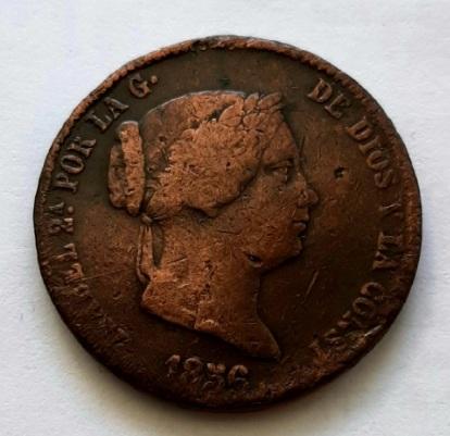 25 сантимов 1856 Испания XF- VF Редкий год