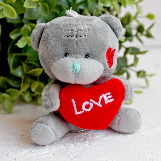 Игрушка для куклы, Серый медвежонок с сердечком Love, 8 см