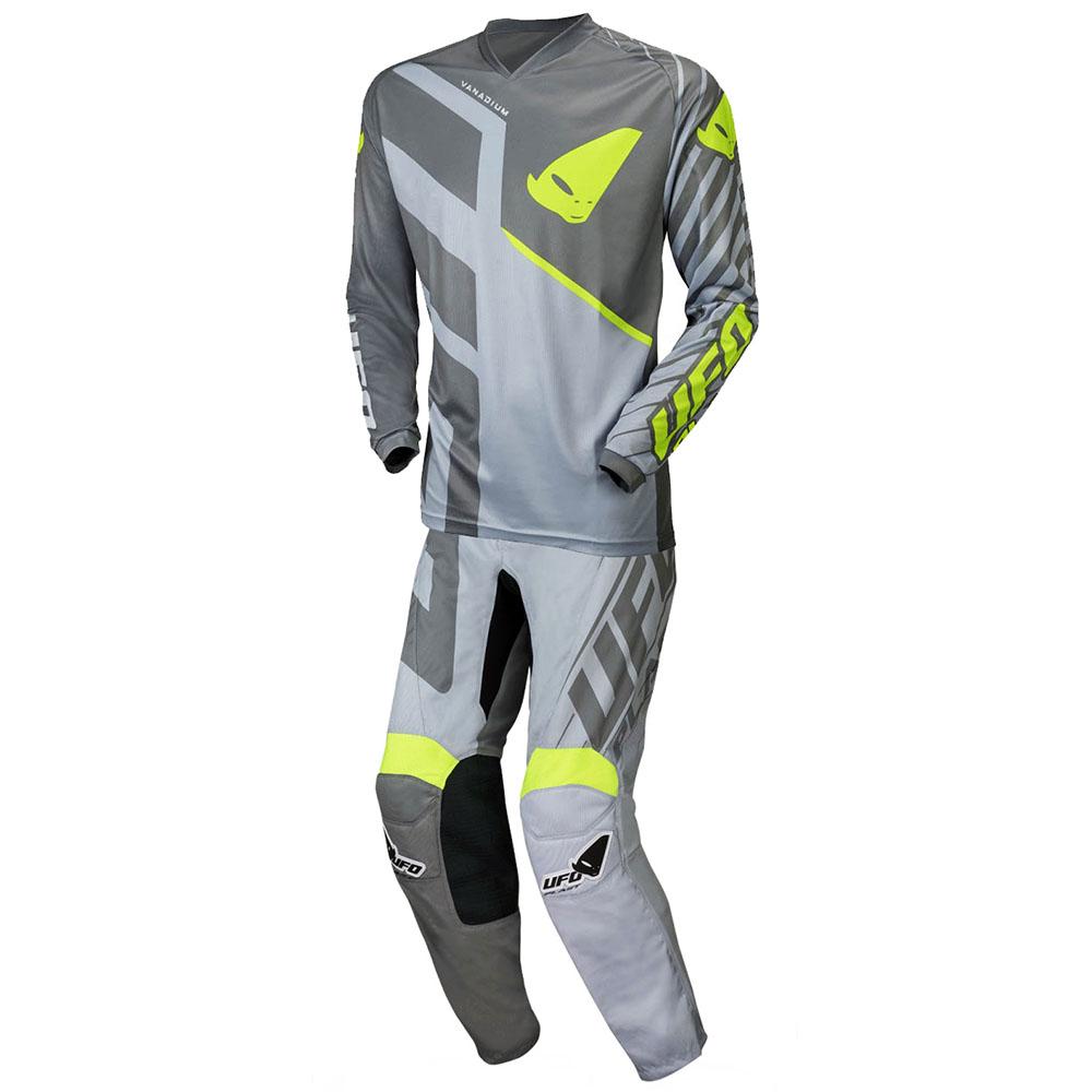 UFO Vanadium Grey/Neon Yellow джерси и штаны для мотокросса, серые