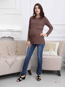 Джемпер для беременных и кормящих, коричневый 2-НМ 42810