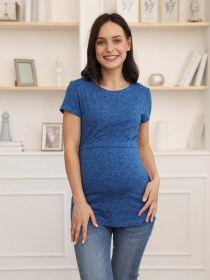 Футболка для беременных и кормящих 3-НМ 36209 синий/черный