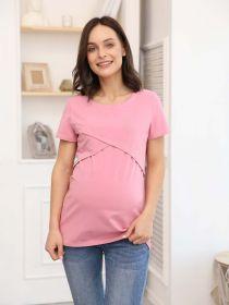 Футболка для беременных и кормящих 06302 розовый