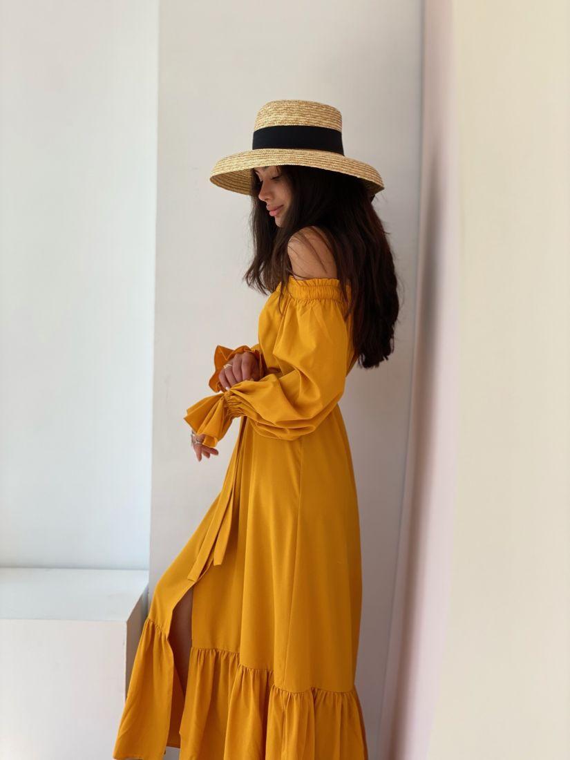 """4360 Платье с открытыми плечами в цвете """"манго"""""""