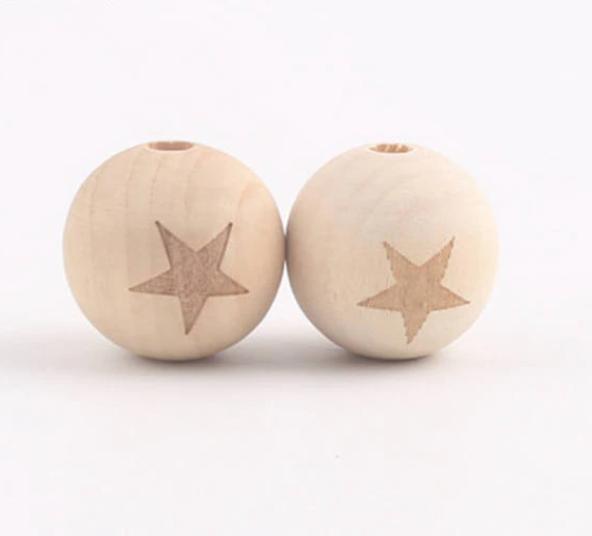 Бусины деревянные 20 мм Звезда поштучно  (Bop-02.20)
