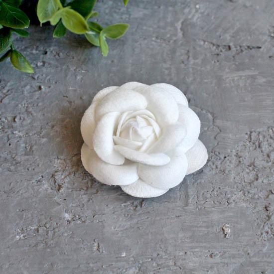 Тканевая роза 5 см. - белая