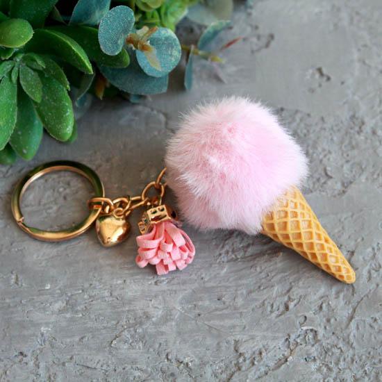 Кукольный аксессуар Мороженое клубничное (мех), 7,5 см.