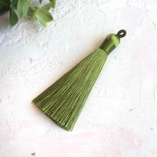 Кисточка декоративная, зеленая 8 см.