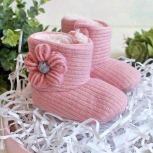 Розовые вязаные сапожки 11 см.