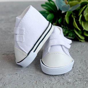 Обувь для кукол кеды на липучках 7 см  -  белые