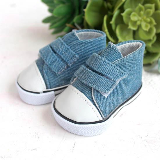 Обувь для кукол кеды на липучках 7 см  -  джинсовые