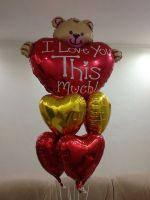 Фонтан из шаров Сердце с мишкой + сердца 6 шт.