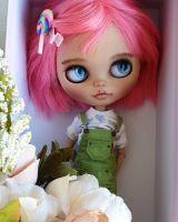 Кукла Блайз касмтом от @milena.blythe автораская кукла blythe doll custom купить с розовыми волосами
