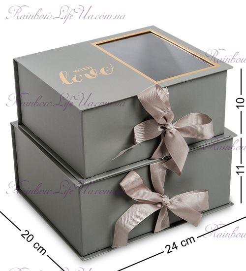 "Подарочная оливковая коробка 2 штуки ""With love"""