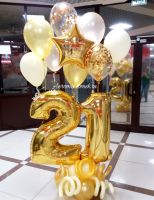 Композиция в золото-ванильно-персиковом со звездой и надписью