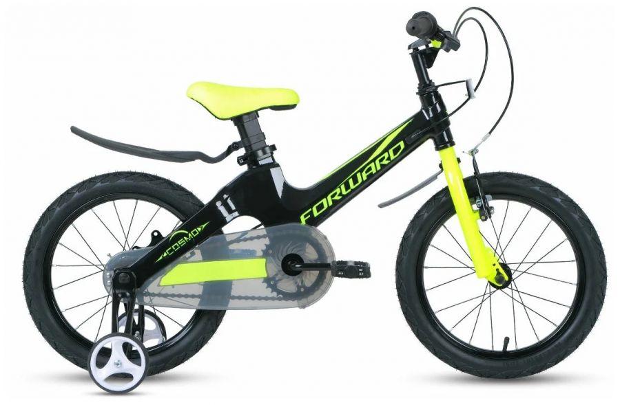 """Детский велосипед FORWARD Cosmo 16 2.0 (16"""" 1 ск.) Чёрный/зелёный (1BKW1K7C1010)"""