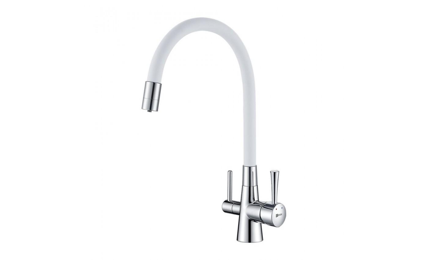 Смес кухня 40мм LEMARK 3075C-White Комфорт с гибким изливом,с подключ к фильтру, хром/белый