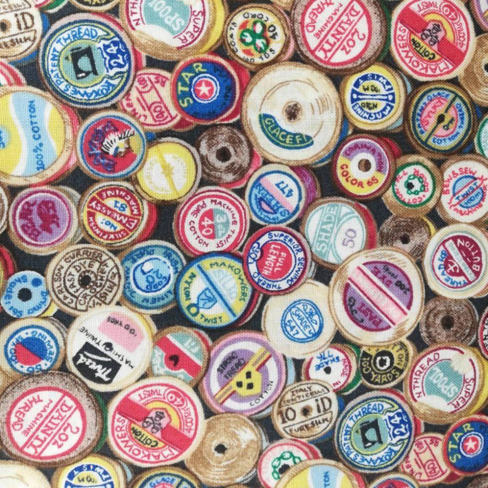 Ткань  Sew Retro Cotton Reels (катушки) MAKOWER UK Великобритания отрез 50 см х55 см (1104)