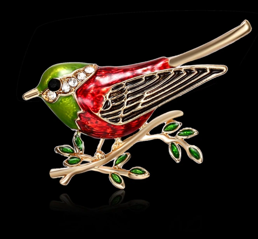 фото Брошь металл  со стразами и эмалью Птичка на ветке ROS02