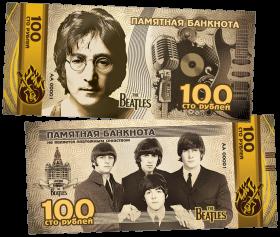 100 РУБЛЕЙ ПАМЯТНАЯ СУВЕНИРНАЯ КУПЮРА -THE BEATLES (СЕРЕБРО) ,СЕРИЯ ЛЕГЕНДЫ МИРОВОЙ МУЗЫКИ
