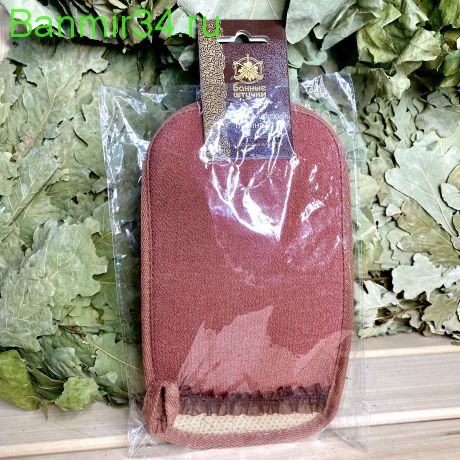 """Мочалка-рукавица """"Королевский пилинг"""" с декором тесьма"""