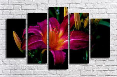 Модульная картина Лилия фиолетовая