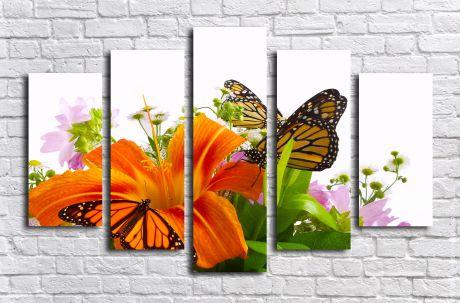 Модульная картина Лилия и бабочки