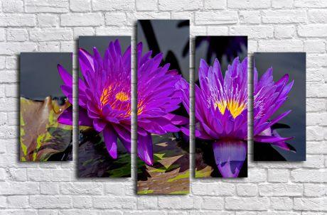 Модульная картина Фиолетовые лотосы