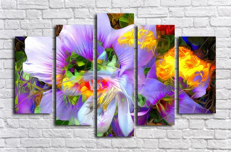 Модульная картина Цветы абстракция