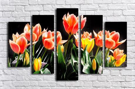 Модульная картина Тюльпаны на черном фоне
