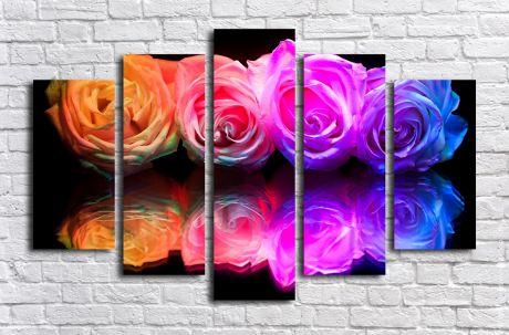Модульная картина Цветные розы в отражении