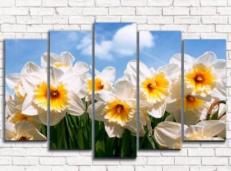 Модульная картина Нарциссы белые