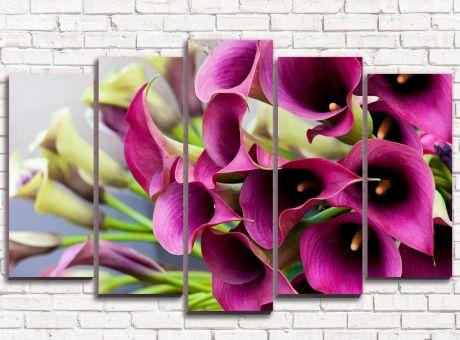 Модульная картина Цветочное бордо
