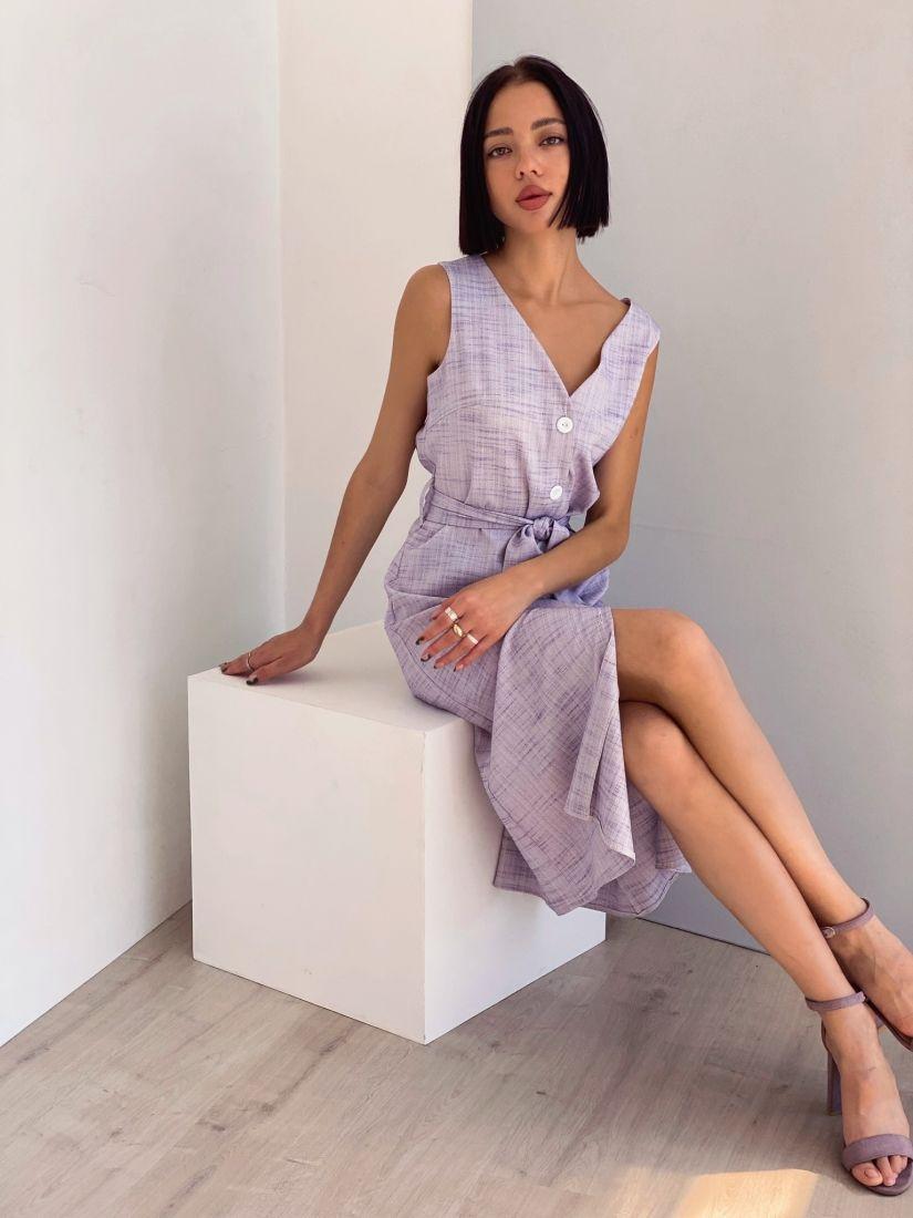 4369 Платье на пуговичках с эффектом льняного плетения