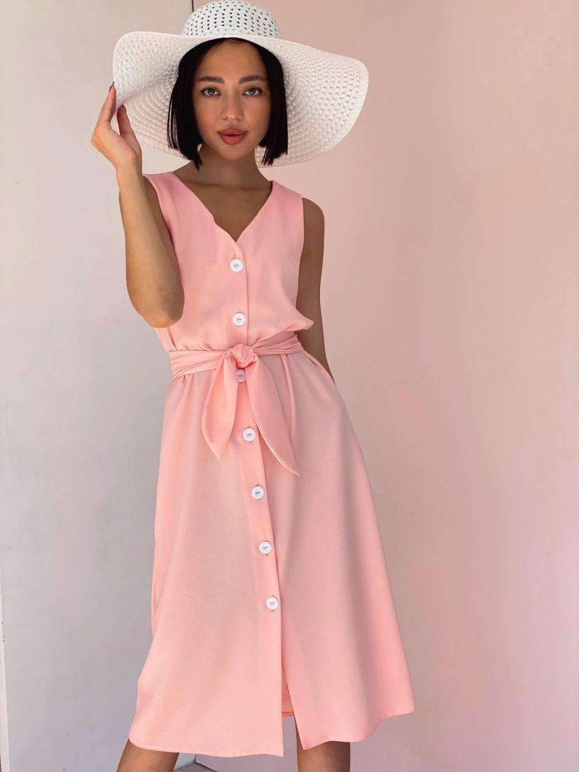 4370 Платье на пуговичках абрикосовое