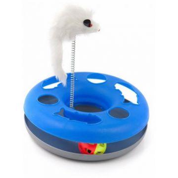 HomeCat Игрушка д/кошек Трэк пластиковый с мячиком и перьями на пружине