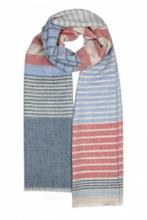 летящий тонкорунный палантин (широкий шарф)  ДОУСОН РУБИНОВЫЙ -DAWSON HERIOT RUBY LINEN SCARF , смесь шерсти, шелка и льна, плотность 2