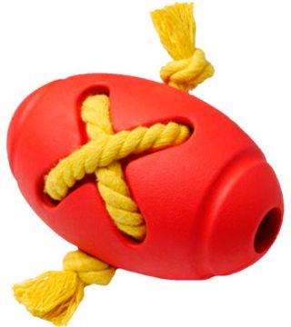 HomePet SILVER SERIES Игрушка д/собак Мяч регби с канатом каучук
