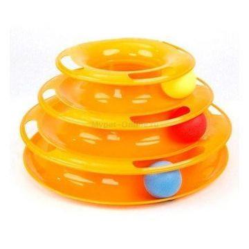 HomeCat Игрушка д/кошек Трэк пластиковый трехэтажный с мячиками