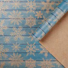 Бумага упаковочная крафтовая «Снежинки на дереве», 50 × 70 см, набор 10 листов