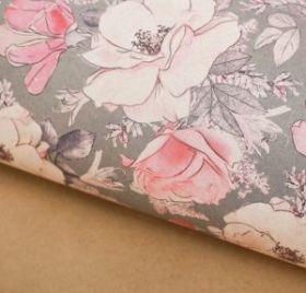 Бумага упаковочная крафтовая «Цветы на сером», 50 × 70 см,набор 10 листов